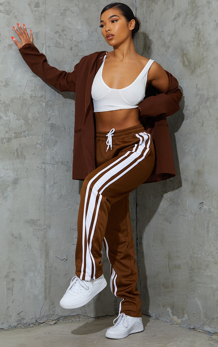 Chocolate Tricot Wide Leg Joggers 1