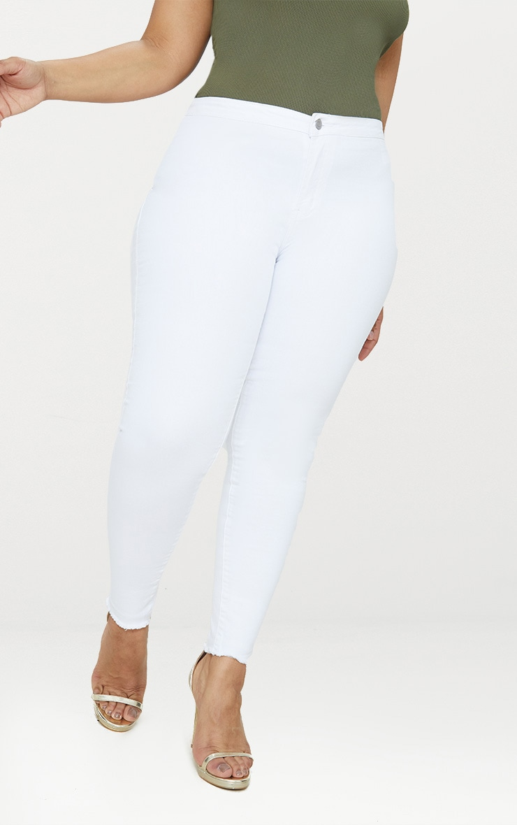 Plus White Disco Skinny Jeans 3