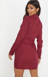 225984412f2a8 Burgundy Plunge Ruched Tortoise Belted Bodycon Shirt Dress image 2