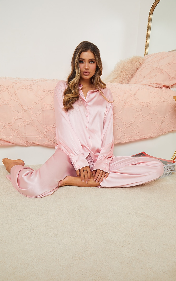 Pink Oversized Long Satin PJ Set 1