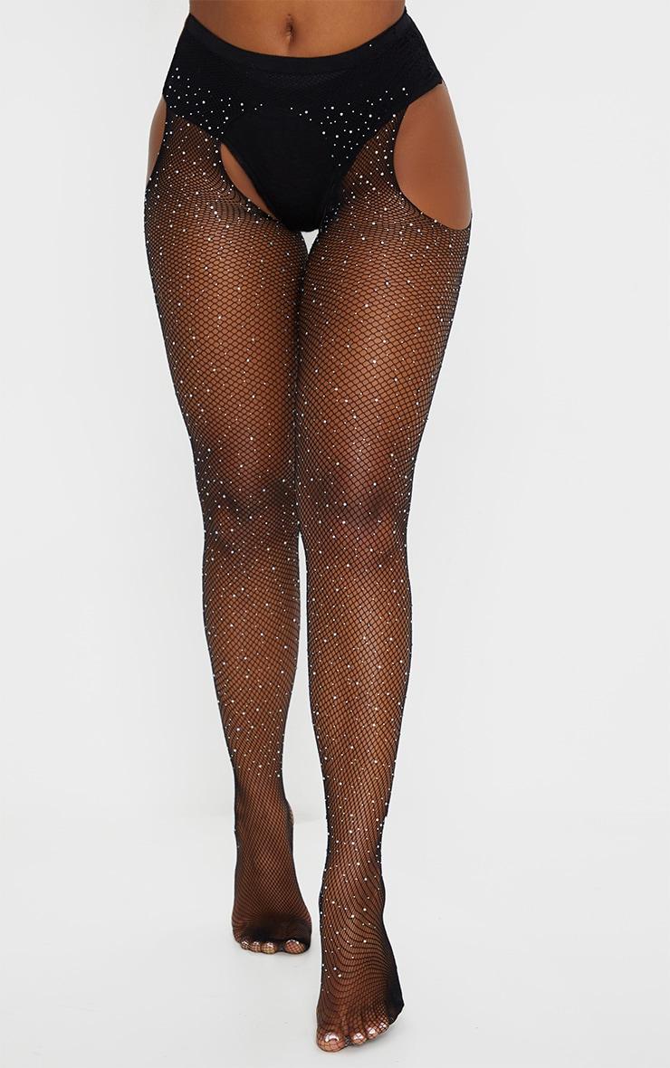 Black Diamante Suspender Tights 3