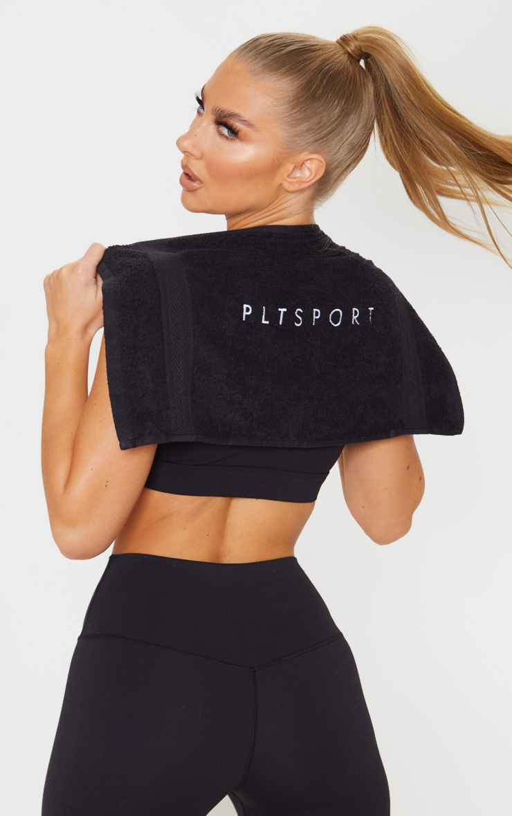 PRETTYLITTLETHING Black Sport Embroidered Gym Towel 1