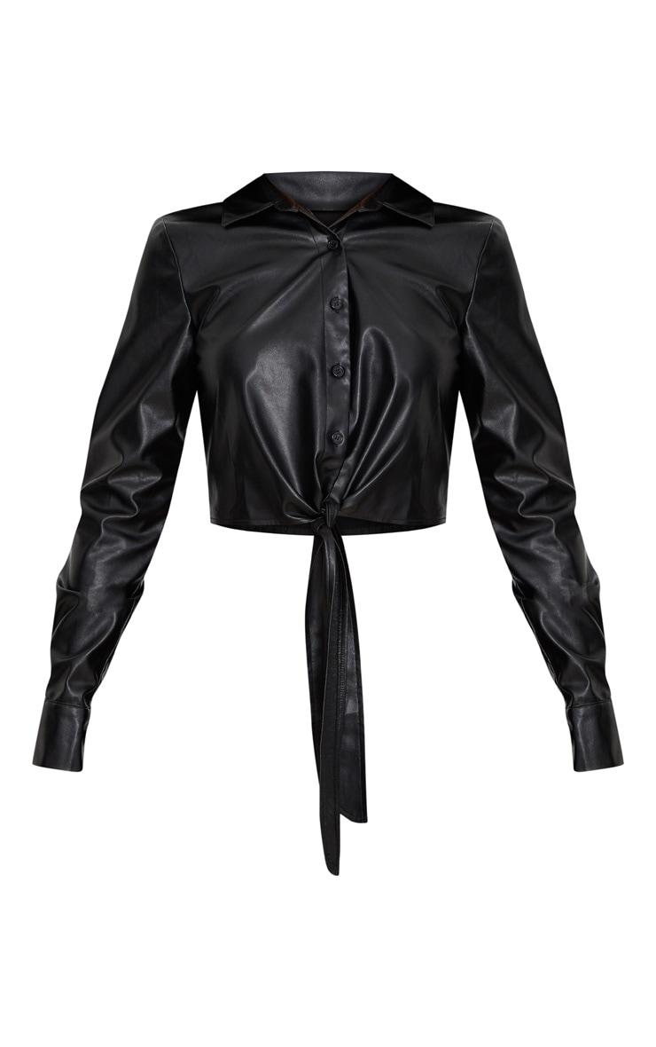 Black Faux Leather Tie Front Shirt  3