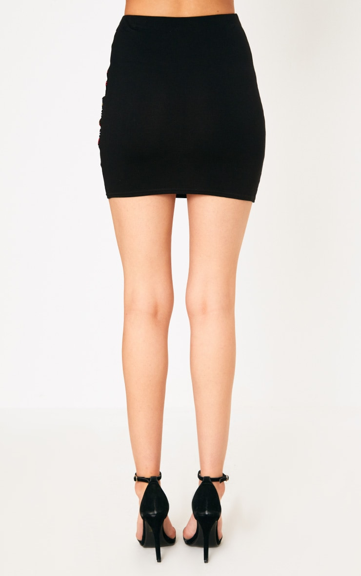 Black Embroidered Printed Jersey Mini Skirt 4