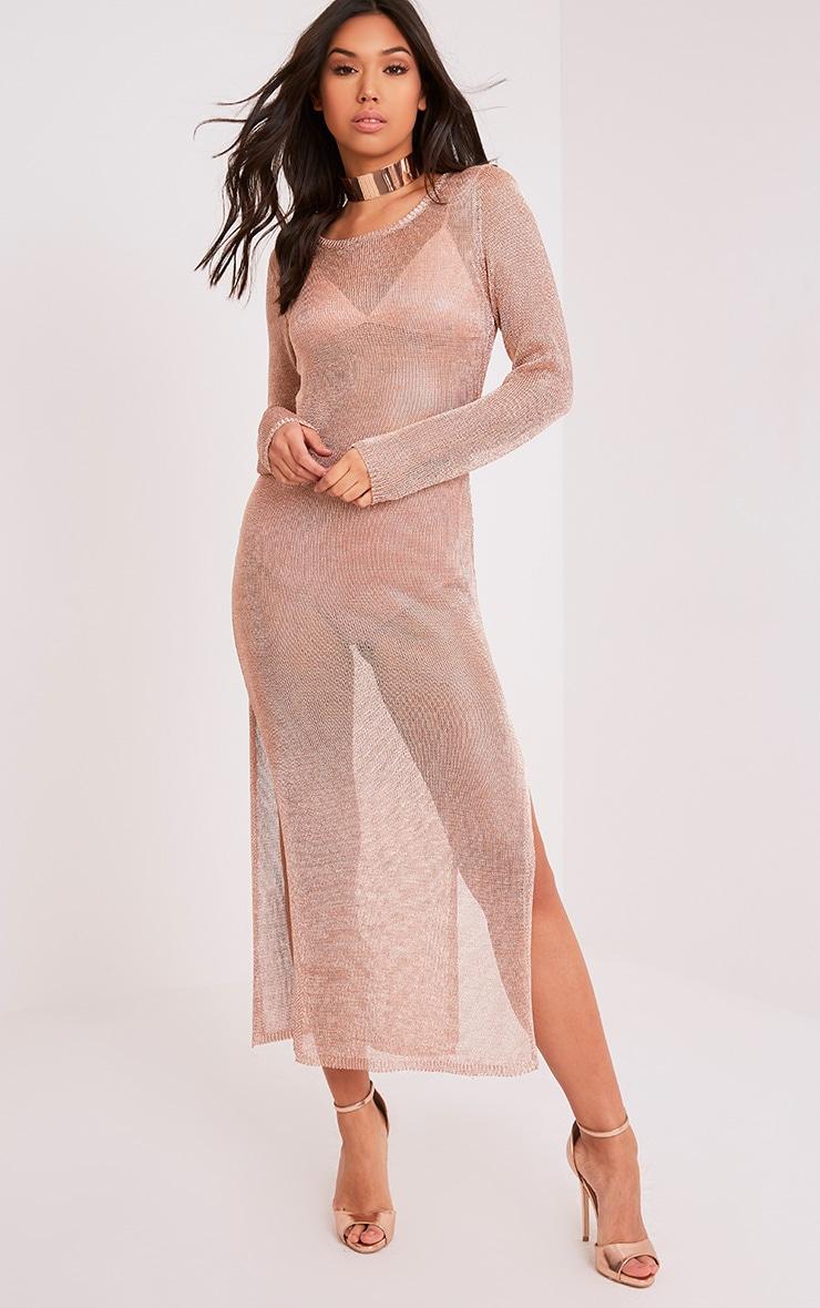 Jacomina robe midi or rose métallisé à double fente 1