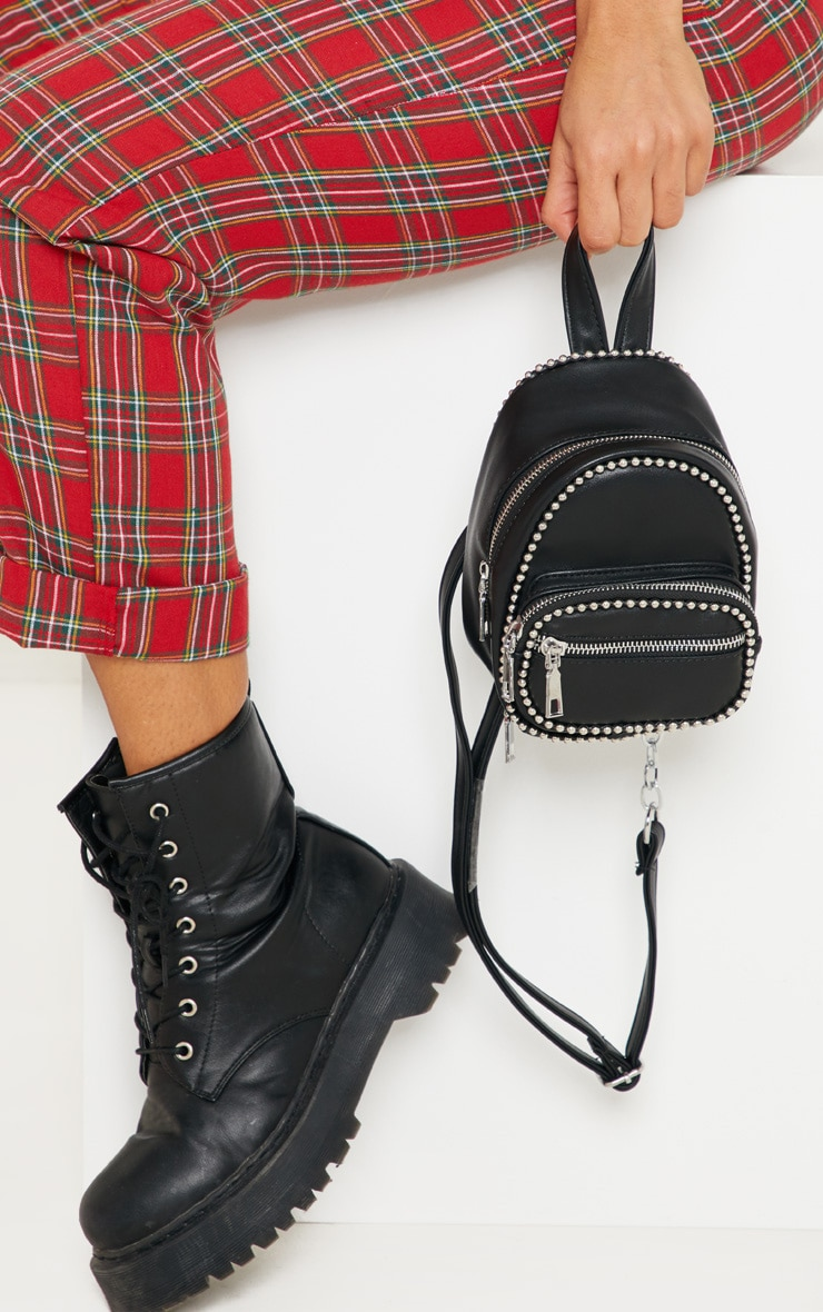 Black Ball Chain Border Mini Rucksack 1