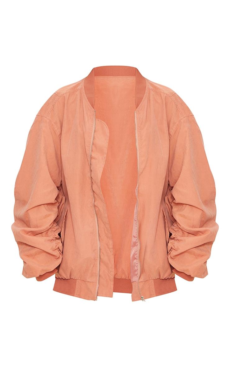 Peach Peach Skin Oversized Ruched Sleeve Bomber Jacket 5