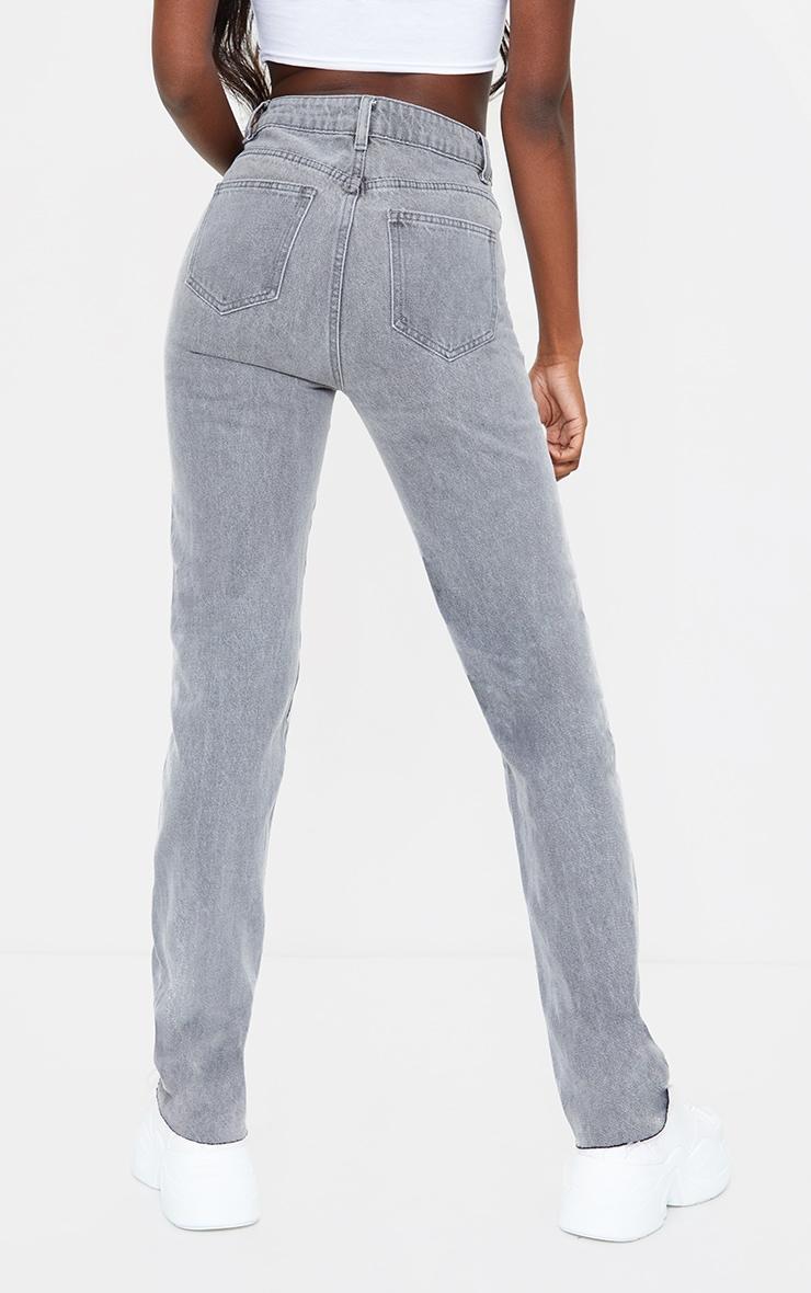 PRETTYLITTLETHING Tall Grey Wash Long Leg Straight Jean 3