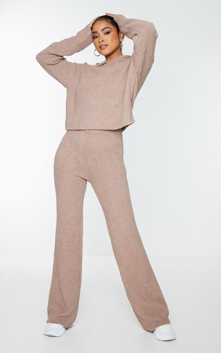 Mocha Premium Fluffy Knitted Hooded Wide Leg Set 1