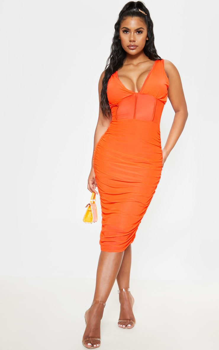 Bright Orange Mesh Binding Ruched Midi Dress 1
