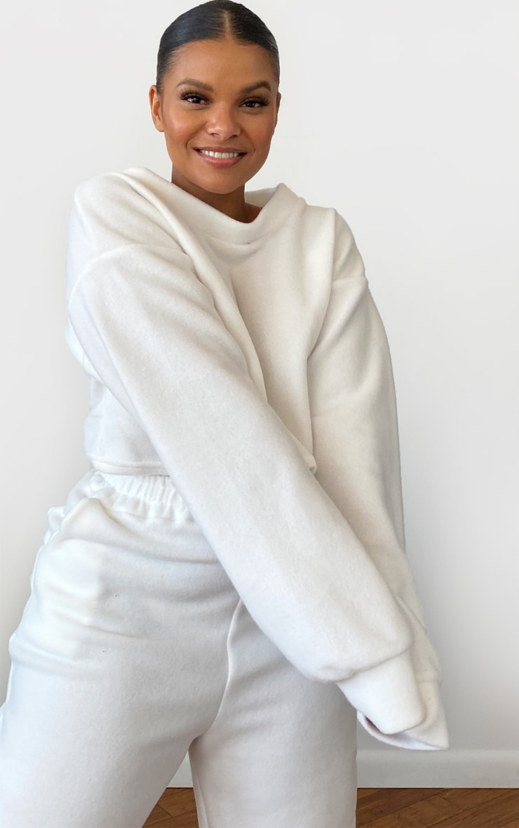 Plus White Brushed Sweat Oversized Sweater 1