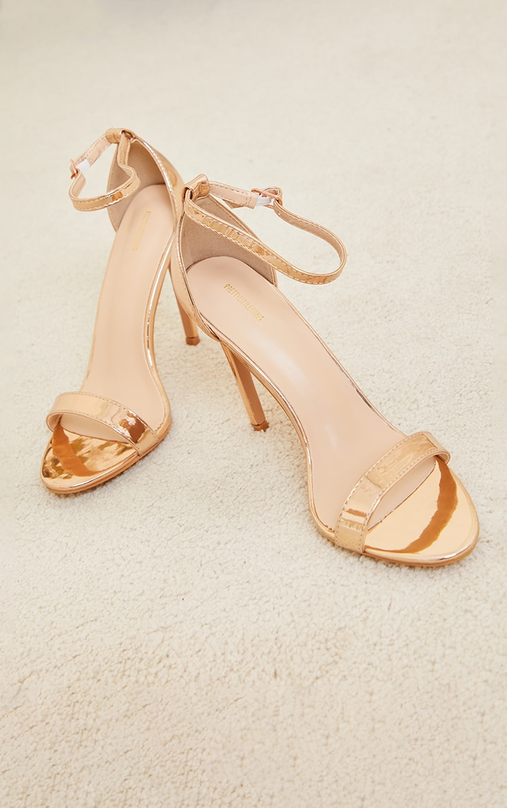 Rose Gold Wide Fit Clover Single Strap Heeled Sandal 4