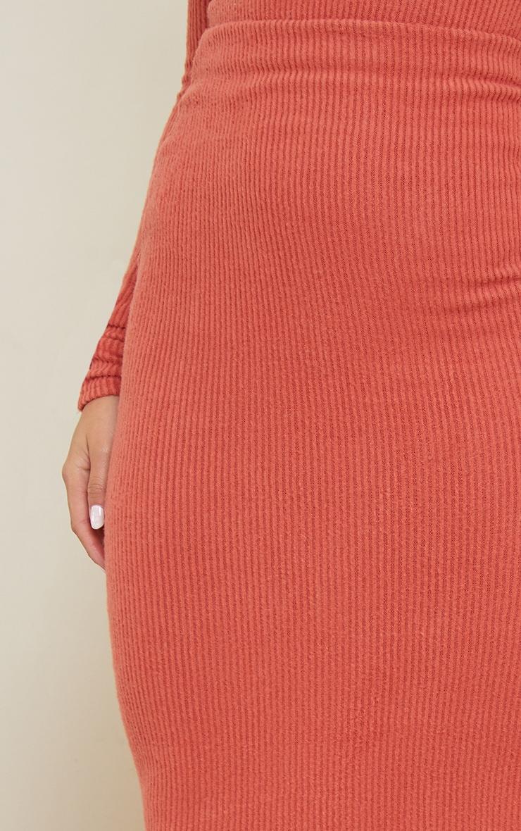 Petite Terracotta Brushed Rib Maxi Skirt 4