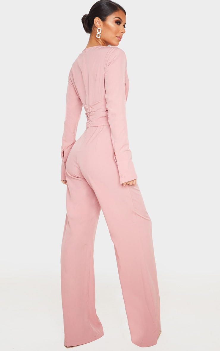 Dusty Pink Pleated Waist Plunge Jumpsuit 2