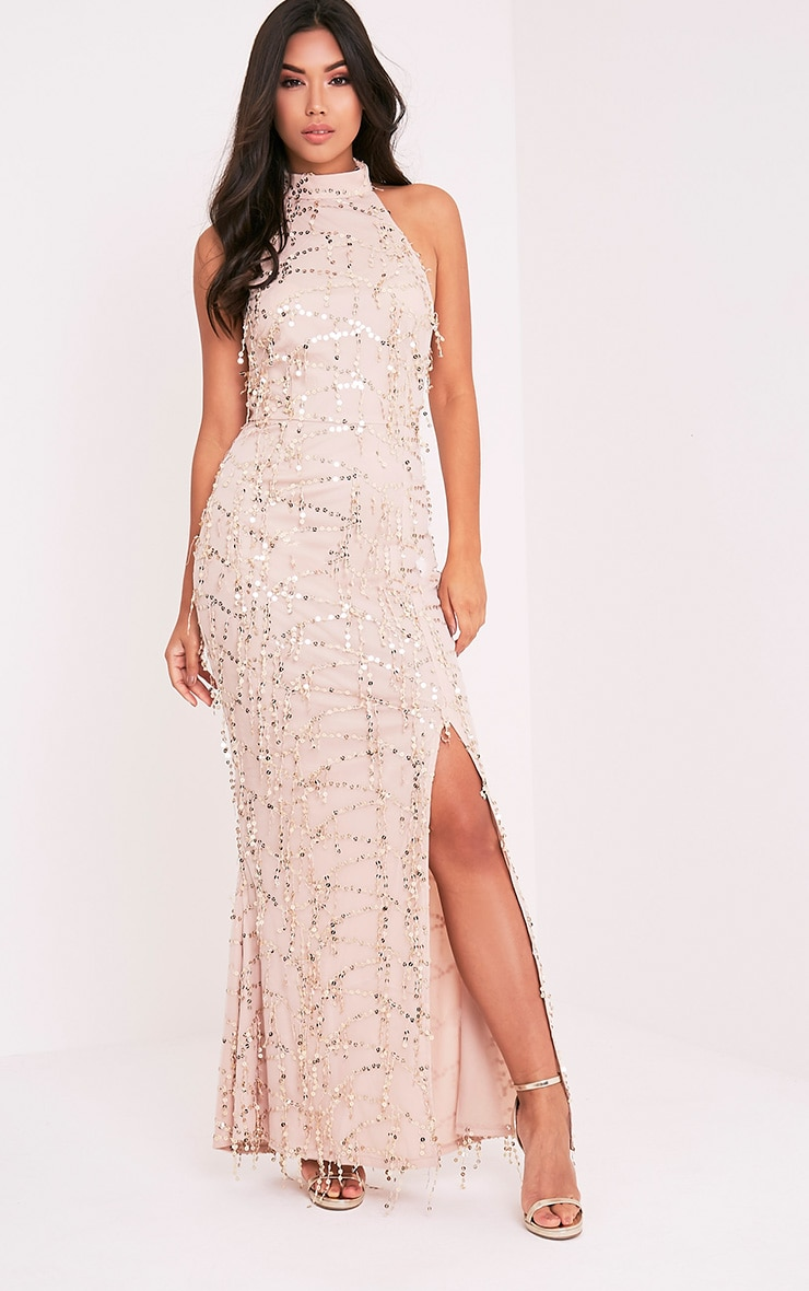 Maya Nude Sequin Fishtail Maxi Dress 4