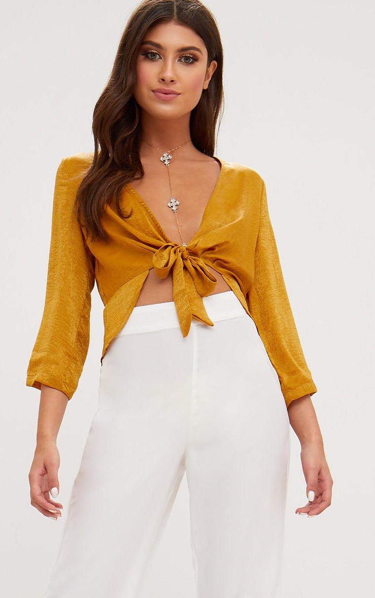 Mustard Hammered Satin Tie Front Frill Crop Top 1