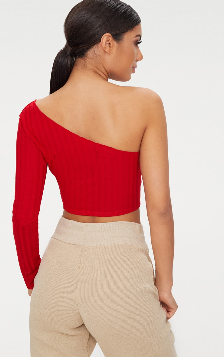 Red Rib Knit Long Sleeve Asymmetric Top 2