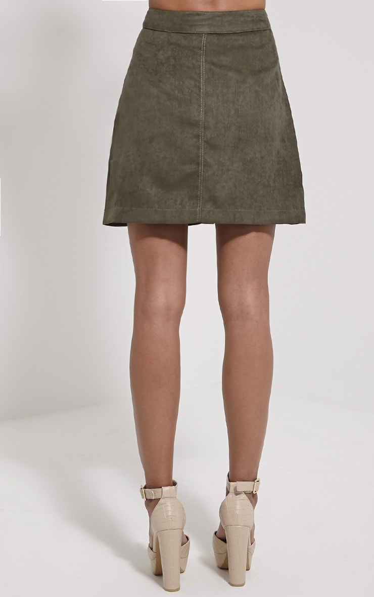 Cheryl Khaki Faux Suede Button Front Skirt 4