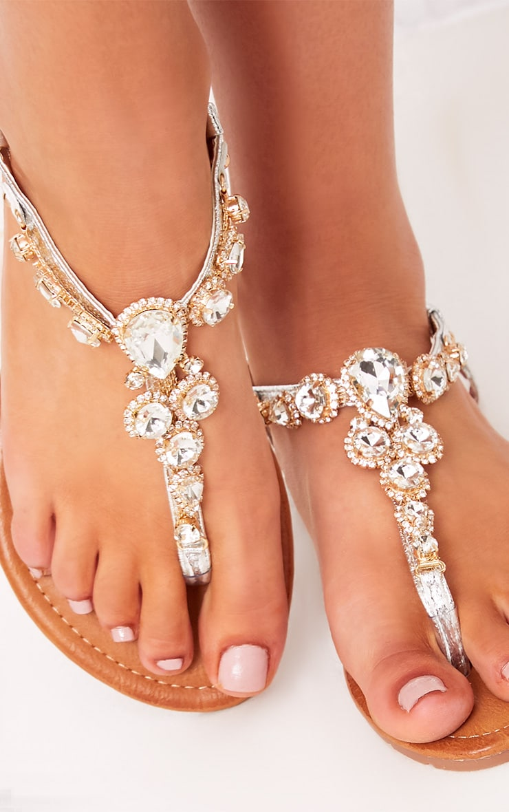 Adela Silver Jewelled Sandals 5