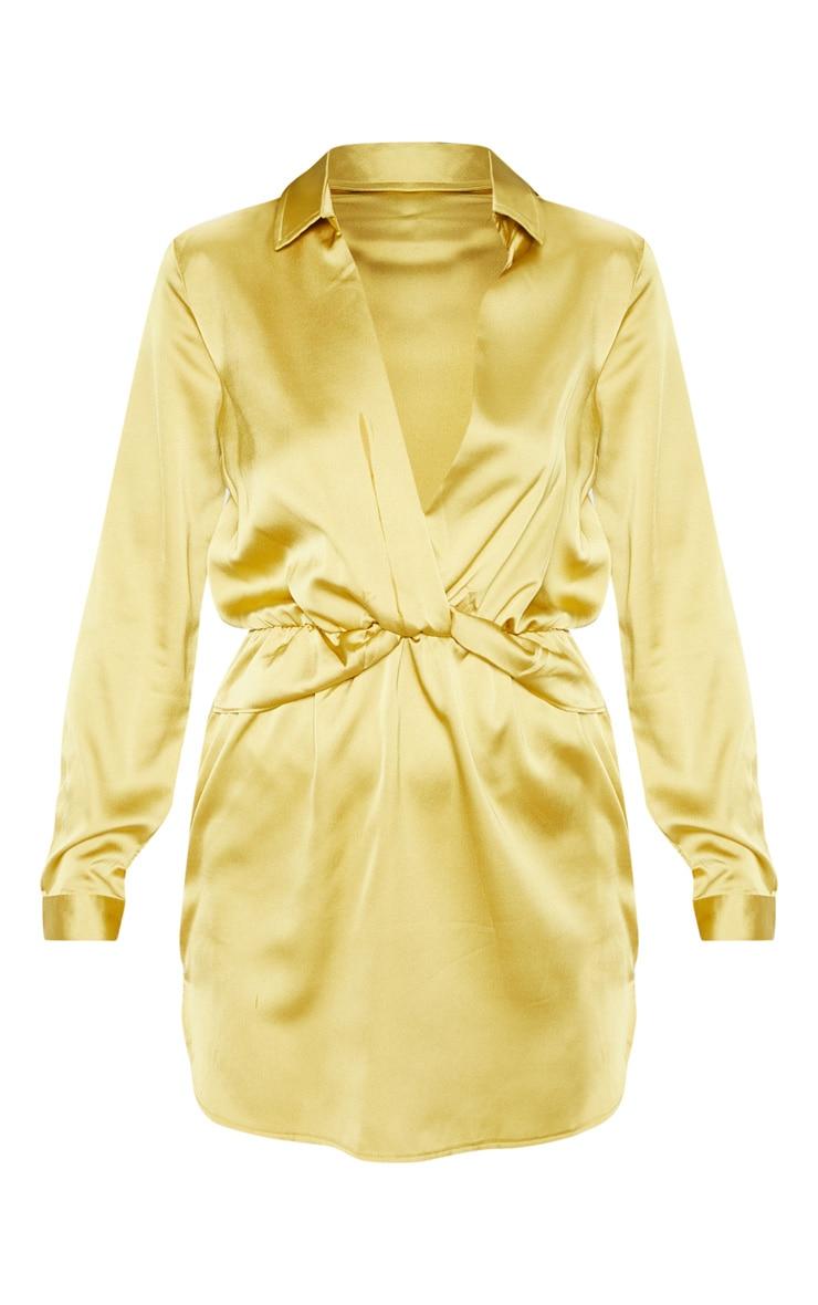 Robe chemise jaune citron satinée torsadée devant 3