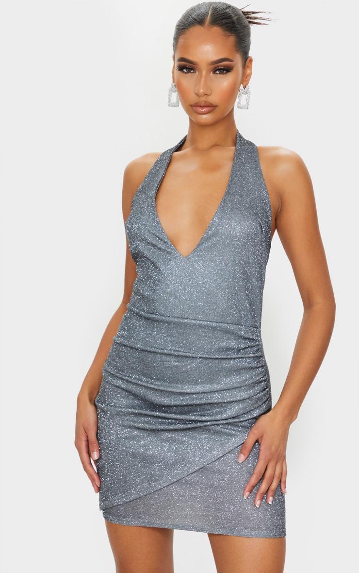 Silver Glitter Halterneck Ruched Wrap Skirt Bodycon Dress 1