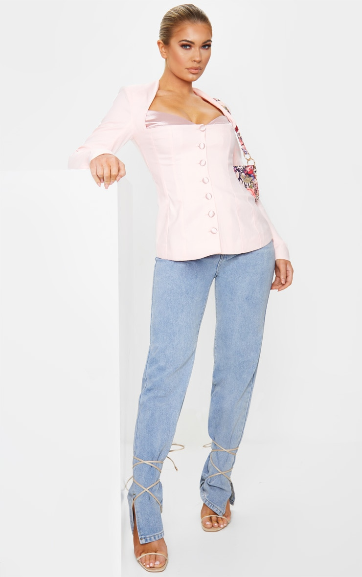 Blush Boned Corset Button Up Blazer 3