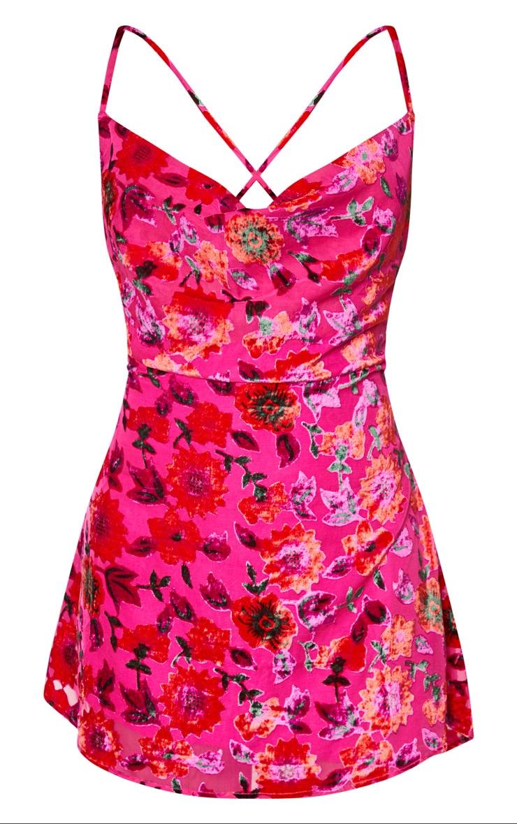 Pink Floral Strappy Flocked Detail Shift Dress 5