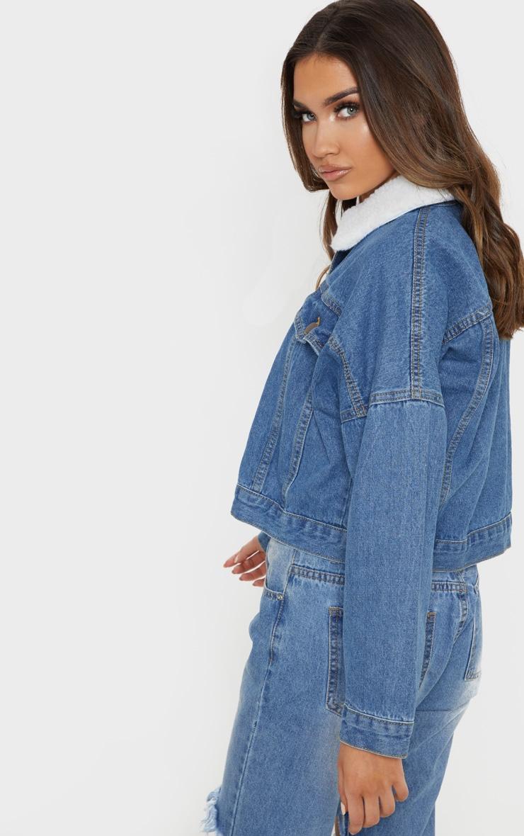 Veste en jean délavé à col fourré 2