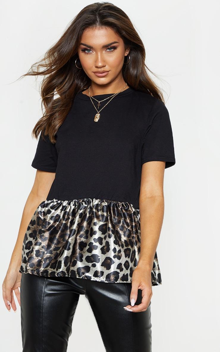 f4e8a83d3cad Black Leopard Print Contrast Frill Hem T Shirt   PrettyLittleThing