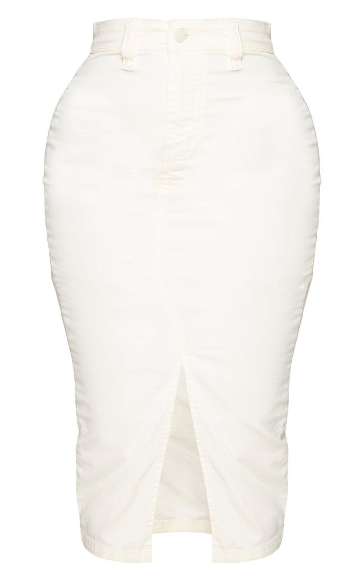 Shape Ecru Denim Split Front Midaxi Skirt 5