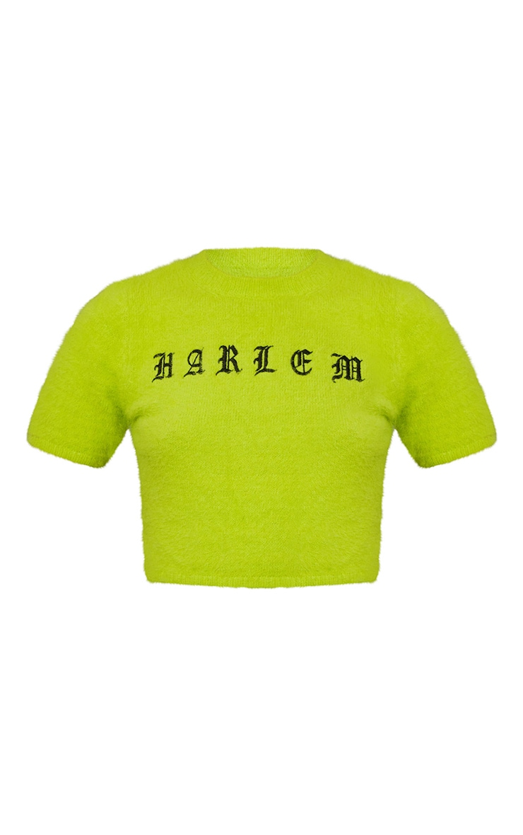 Lime Harlem Fluffy Knitted Crop Top 5
