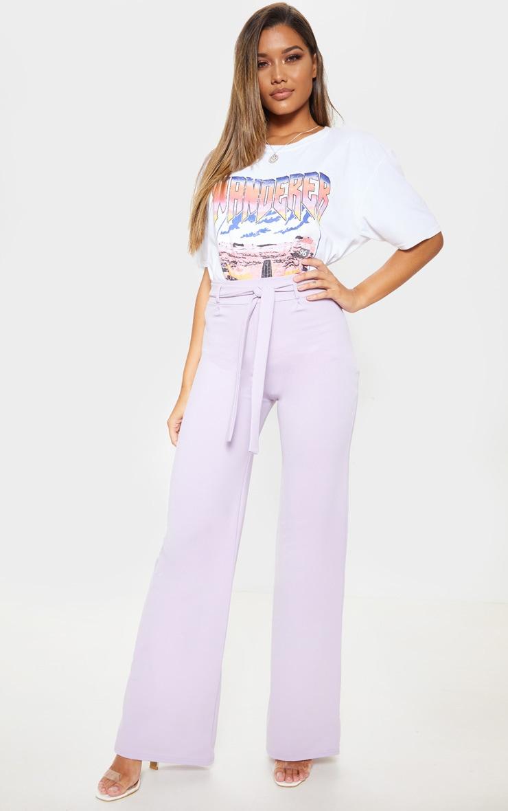 Lilac Tie Waist Wide Leg Trouser 1