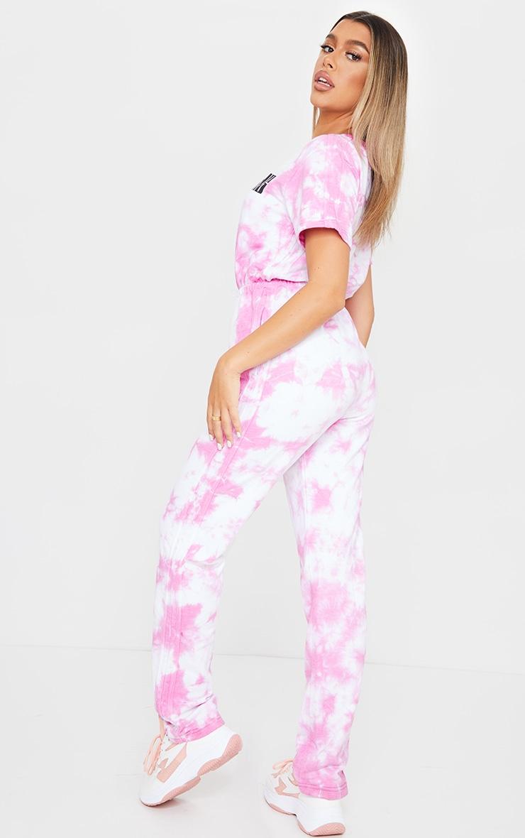 PRETTYLITTLETHING Pink Acid Wash Short Sleeve Sweat Jumpsuit 2