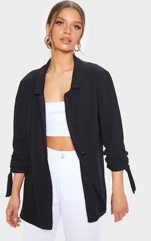 1d6e240737685 Black Ruched Sleeve Blazer image ...
