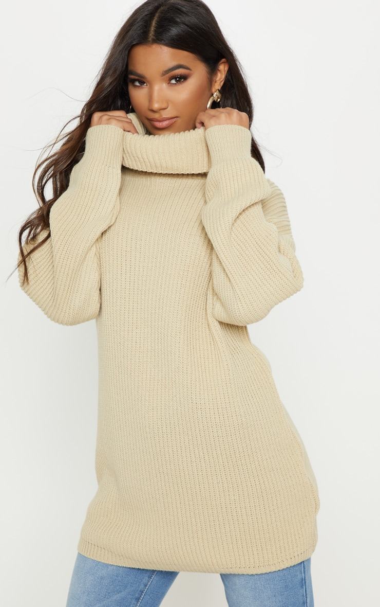 Chunky Knitted Roll Neck Stone Jumper 4