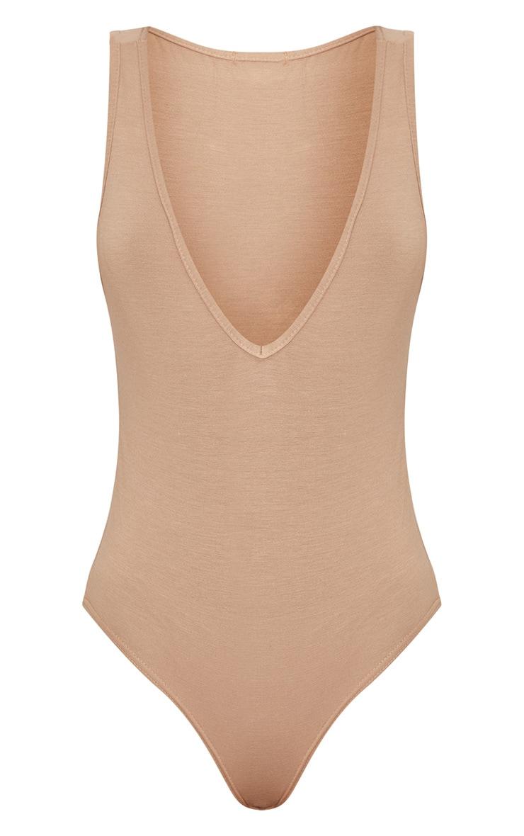 Basic Nude Jersey Plunge Neck Thong Bodysuit  3