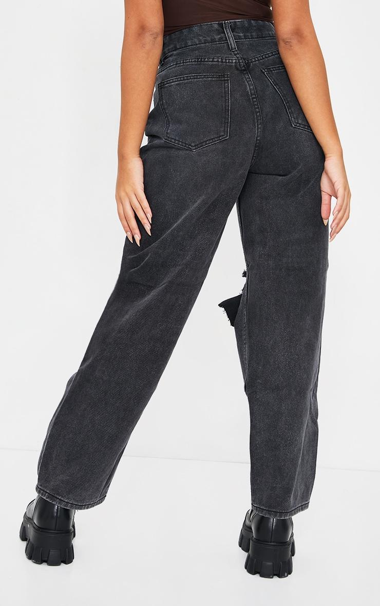 Petite Black Baggy Low Rise Distressed Boyfriend Jeans 3