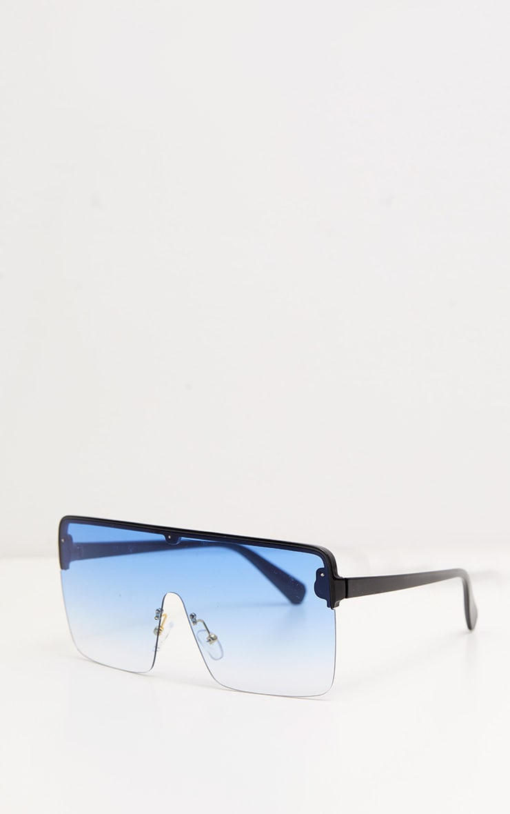 Blue Single Lens Frameless Block Sunglasses 3