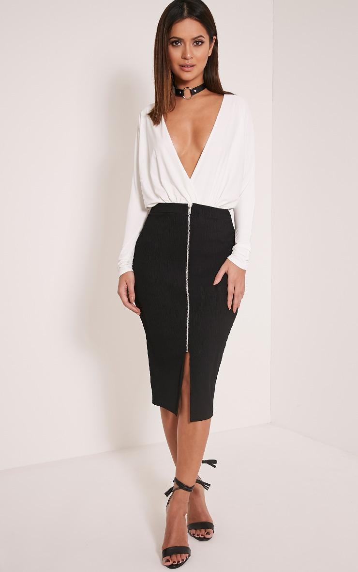 Sarie Black Ribbed Zip Front Midi Skirt 1