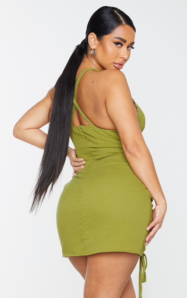 Shape Olive Woven Cup Detail Ruched Side Bodycon Dress 2