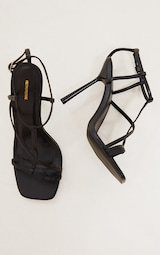 Black PU Toe Loop Strappy Heeled Sandals 4