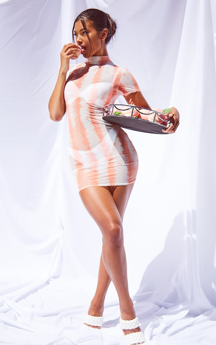 Orange Tie Dye Mesh High Neck Short Sleeve Bodycon Dress 3