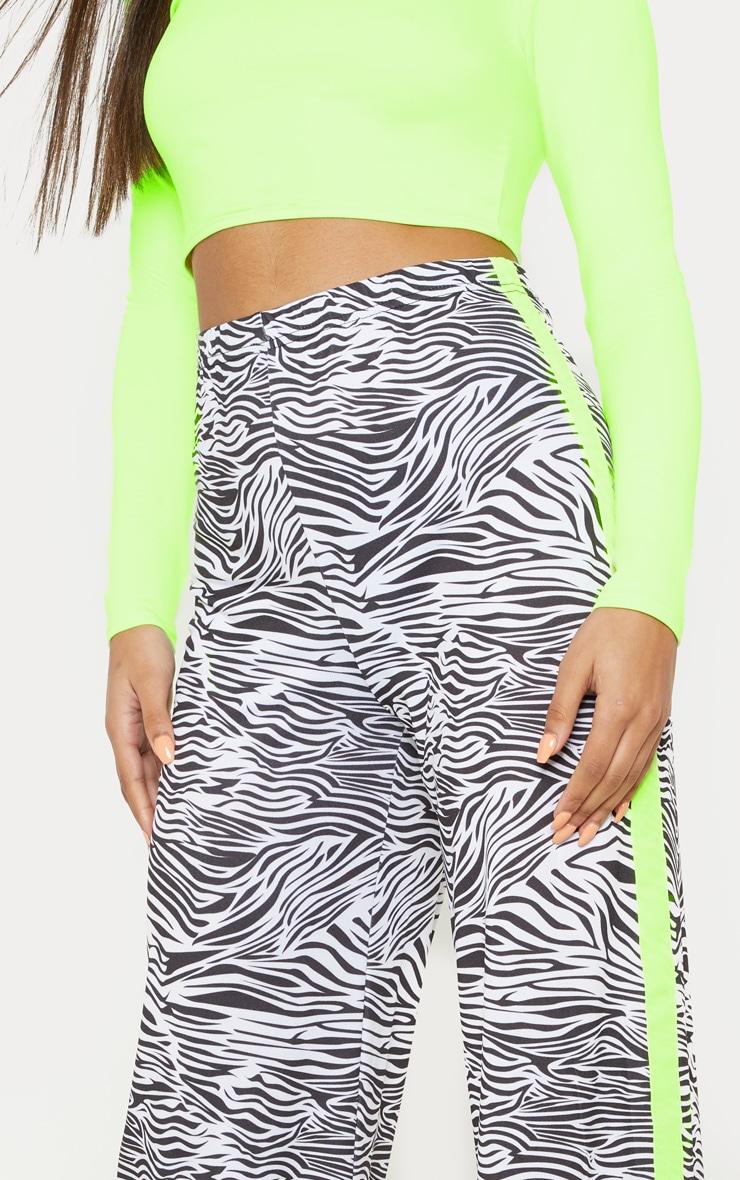 Zebra Printed Contrast Side Stripe Wide Leg Trouser 5