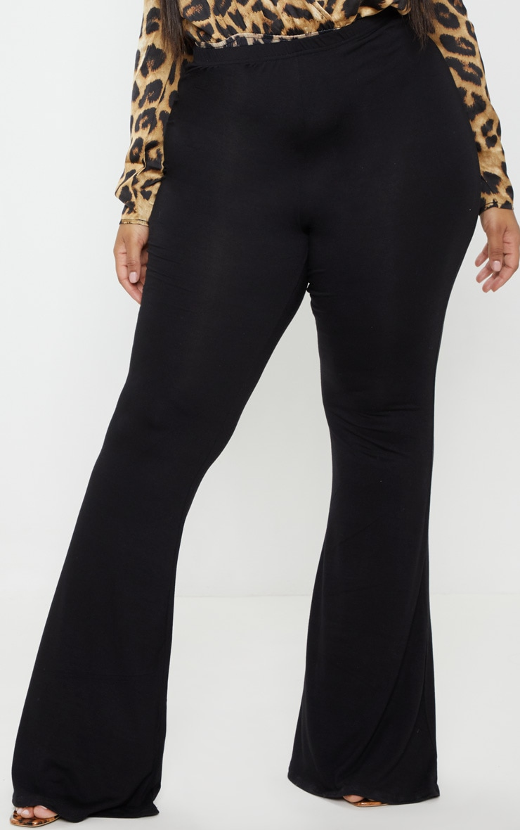 Plus Black Basic Flared Trousers 2