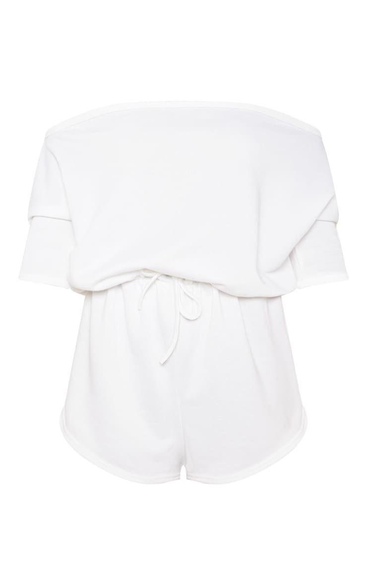 Cream Off The Shoulder Tie Waist Playsuit 3