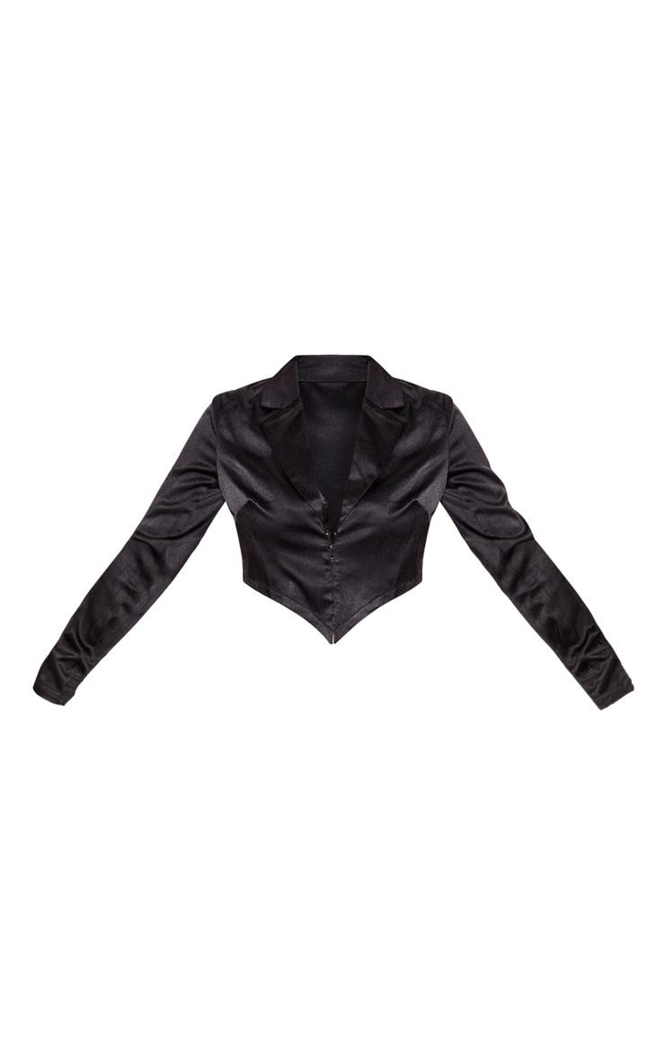 Petite Black Corset Detail Satin Cropped Jacket  3