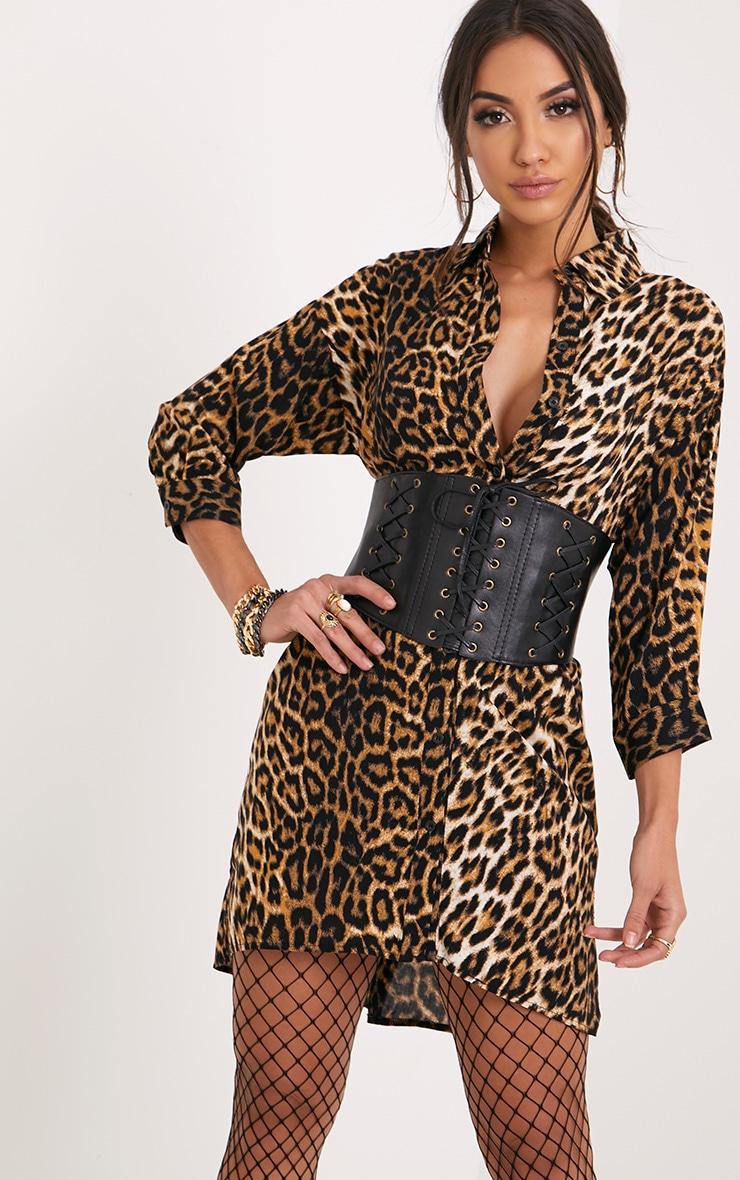 Viv Leopard Print Shirt Dress 1