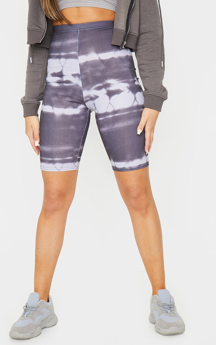 Black Tie Dye Rib Bike Shorts 2