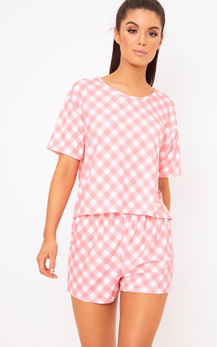 Pink Gingham PJ Set 1