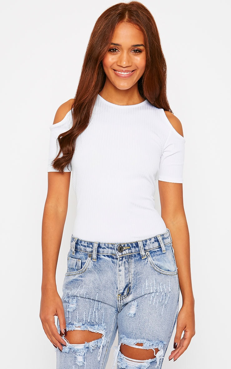Marie White Ribbed Jersey Cut Out Shoulder Tee 1
